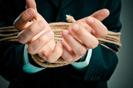 entrepreneur hands tied