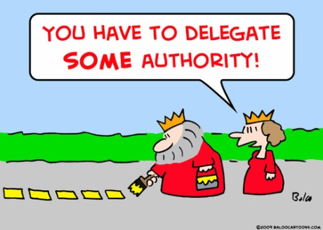 delegating king queen cartoon